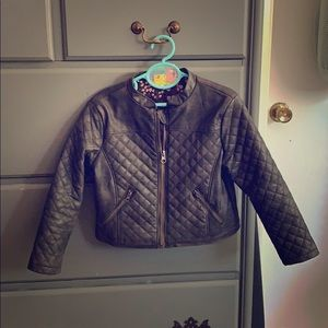 Toddler girls faux leather jacket.